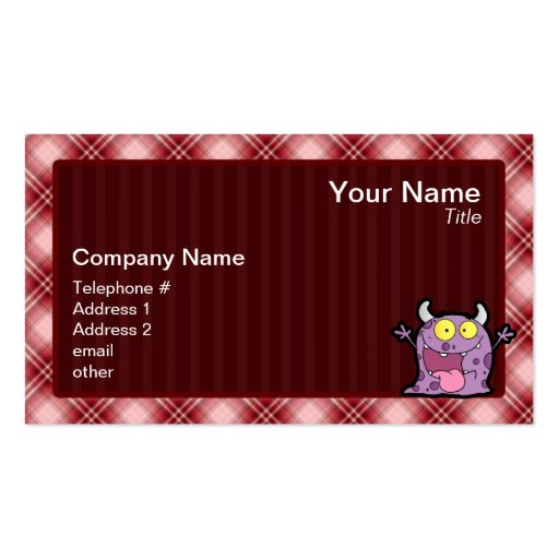 Red Plaid Purple Monster Business Card