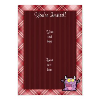 Red Plaid Purple Monster Card