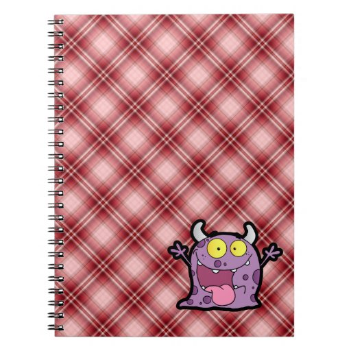 Red Plaid Purple Monster Spiral Note Books