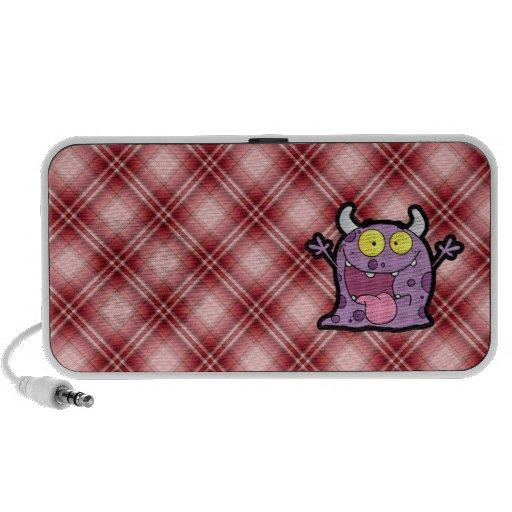 Red Plaid Purple Monster Portable Speakers