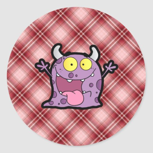 Red Plaid Purple Monster Stickers