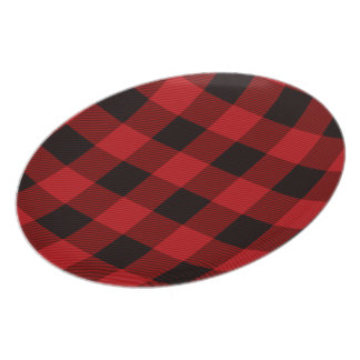 Red Plaid Recipe Melamine Plate