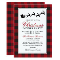 Red Plaid Reindeer Christmas Dinner Party Invitation