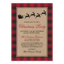 Red Plaid Reindeer Christmas Party Kraft Invitation
