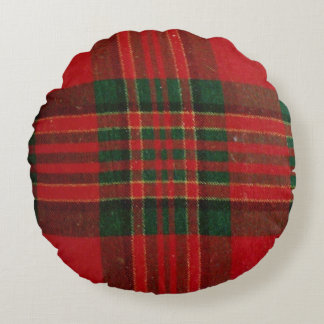 Red Plaid Round Throw Pillow