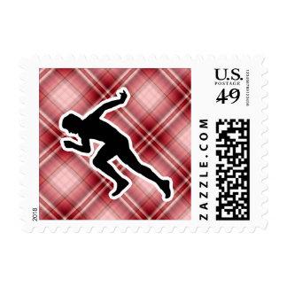 Red Plaid Running Stamp