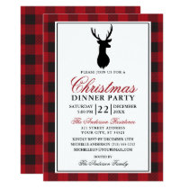 Red Plaid Rustic Christmas Dinner Party Invitation