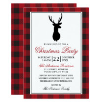 Red Plaid Rustic Christmas Party Invitation