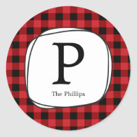 Red Plaid Rustic Country Favor Tag Stickers