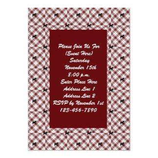 Red Plaid Scotty Dog Pattern Invitation