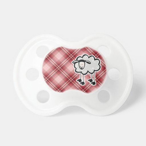 Red Plaid Sheep Baby Pacifiers
