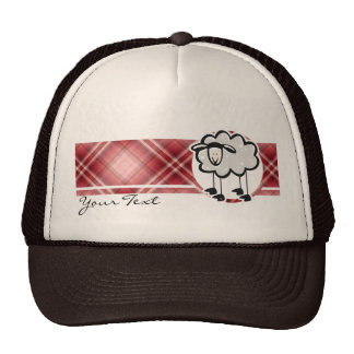 Red Plaid Sheep Trucker Hat