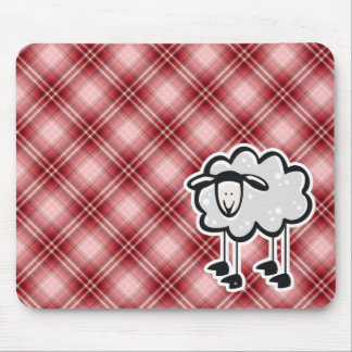 Red Plaid Sheep Mouse Pad