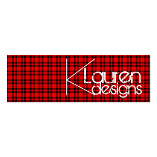 red plaid skinny business card
