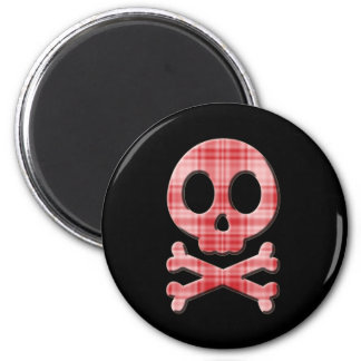 Red Plaid Skull Magnet