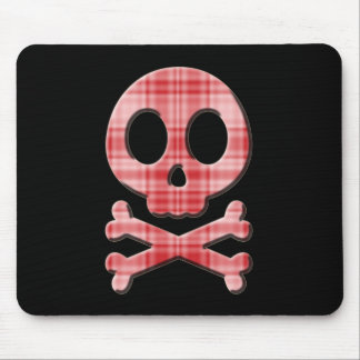 Red Plaid Skull Mouse Pad