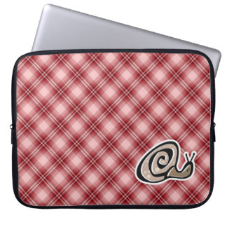 Red Plaid Snail Laptop Computer Sleeve
