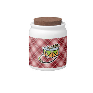 Red Plaid Snare Drum Candy Dish