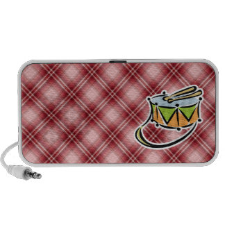 Red Plaid Snare Drum iPod Speakers