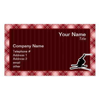Red Plaid Snow Skiing Double-Sided Standard Business Cards (Pack Of 100)
