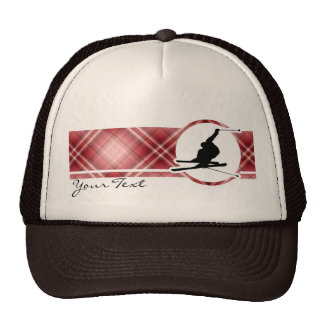 Red Plaid Snow Skiing Trucker Hat