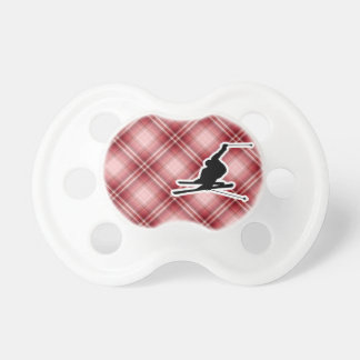 Red Plaid Snow Skiing Pacifier