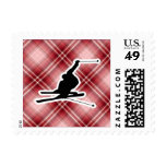 Red Plaid Snow Skiing Stamp