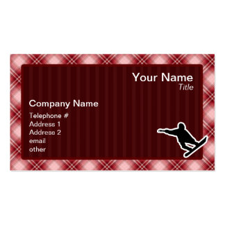 Red Plaid Snowboarding Business Card