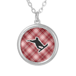 Red Plaid Snowboarding Custom Necklace