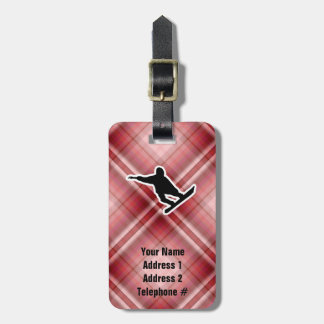 Red Plaid Snowboarding Tag For Bags