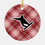 Red Plaid Snowboarding Ornaments