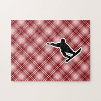 Red Plaid Snowboarding Jigsaw Puzzle