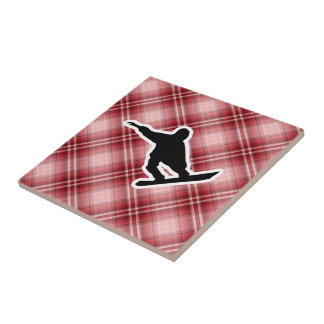 Red Plaid Snowboarding Tile