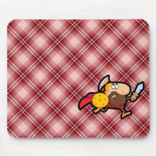Red Plaid Spartan Gladiator Mouse Pad