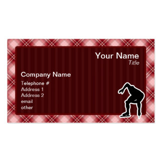 Red Plaid Speed Skater Business Card Templates