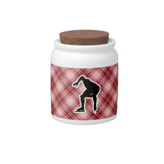 Red Plaid Speed Skater Candy Jars