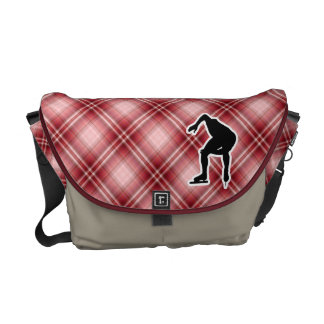 Red Plaid Speed Skater Courier Bag