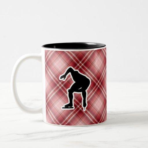 Red Plaid Speed Skater Two-Tone Coffee Mug