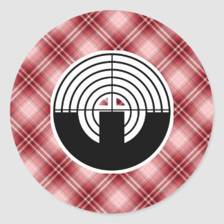 Red Plaid Sport Shooting Round Stickers