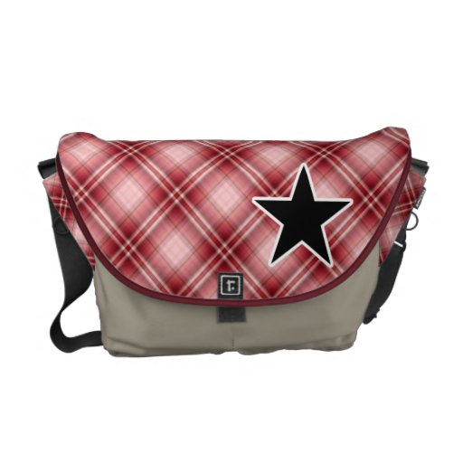 Red Plaid Star Courier Bag