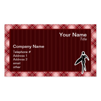 Red Plaid Surfing Girl Business Card