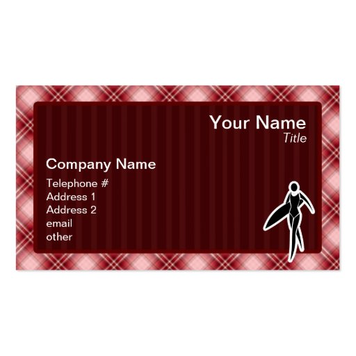 Red Plaid Surfing Girl Double-Sided Standard Business Cards (Pack Of 100)