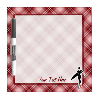 Red Plaid Surfing Girl Dry Erase Whiteboards