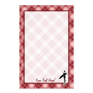 Red Plaid Surfing Girl Stationery Paper
