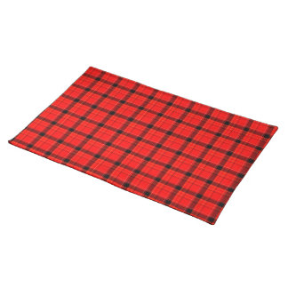 Red Plaid Tartan Fabric Background Place Mats