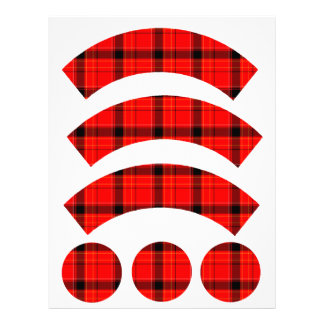 Red Plaid Tartan Fabric Cupcake Liners Personalized Letterhead