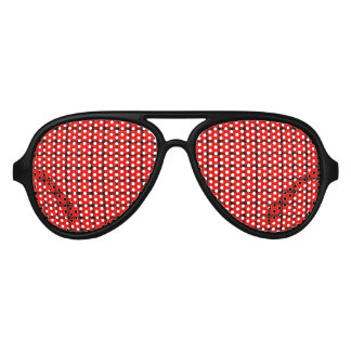 Red Plaid Tartan Pattern Aviator Sunglasses