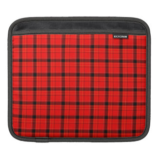 Red Plaid Tartan Pattern Sleeves For iPads