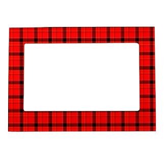 Red Plaid Tartan Pattern Magnetic Frame