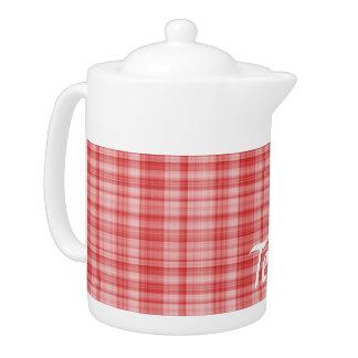 Red Plaid Teapot